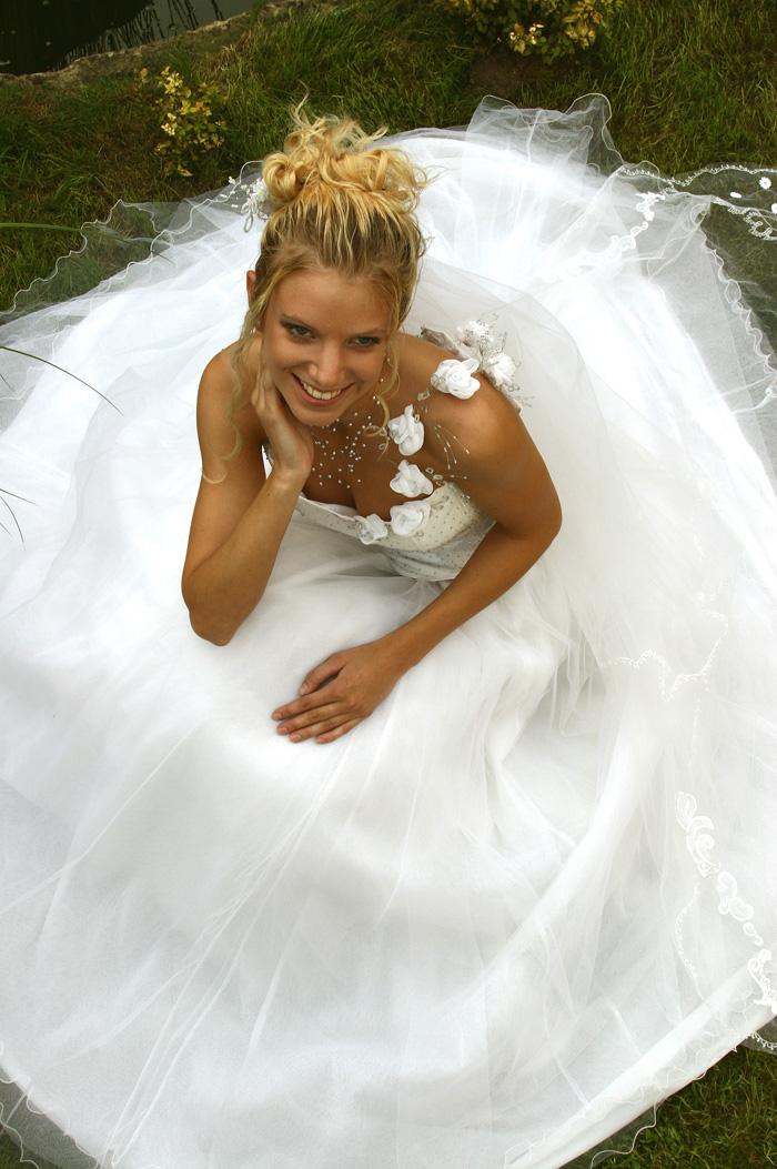 fd95d44b740 Romantické šaty mají bohatou tylovou sukni a korzet pošitý korálky. Hlavním  ozdobným prvkem je ramínko ze šifónových růžiček na drátku s bílými a  modrými ...